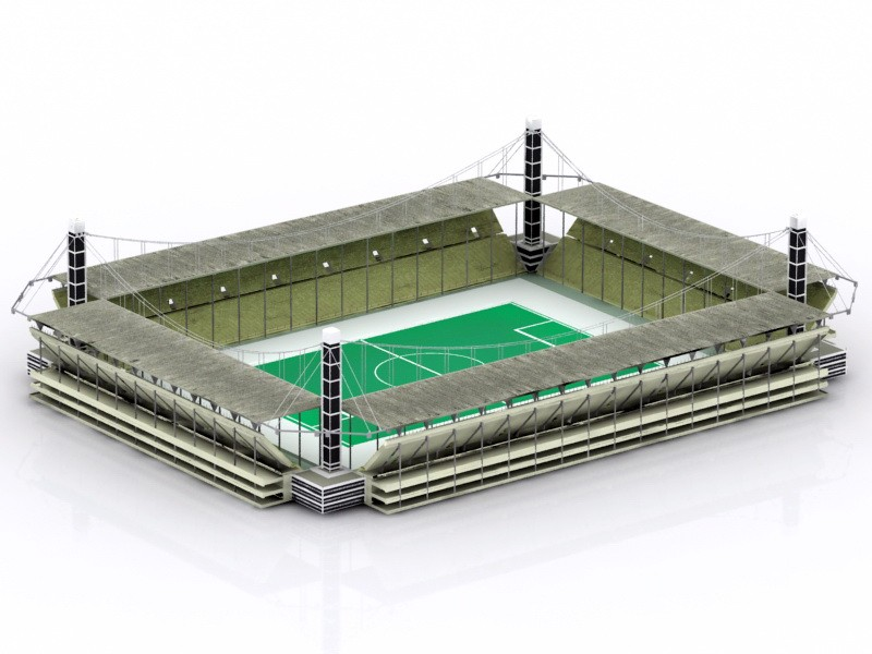 College Soccer Stadium 3d rendering