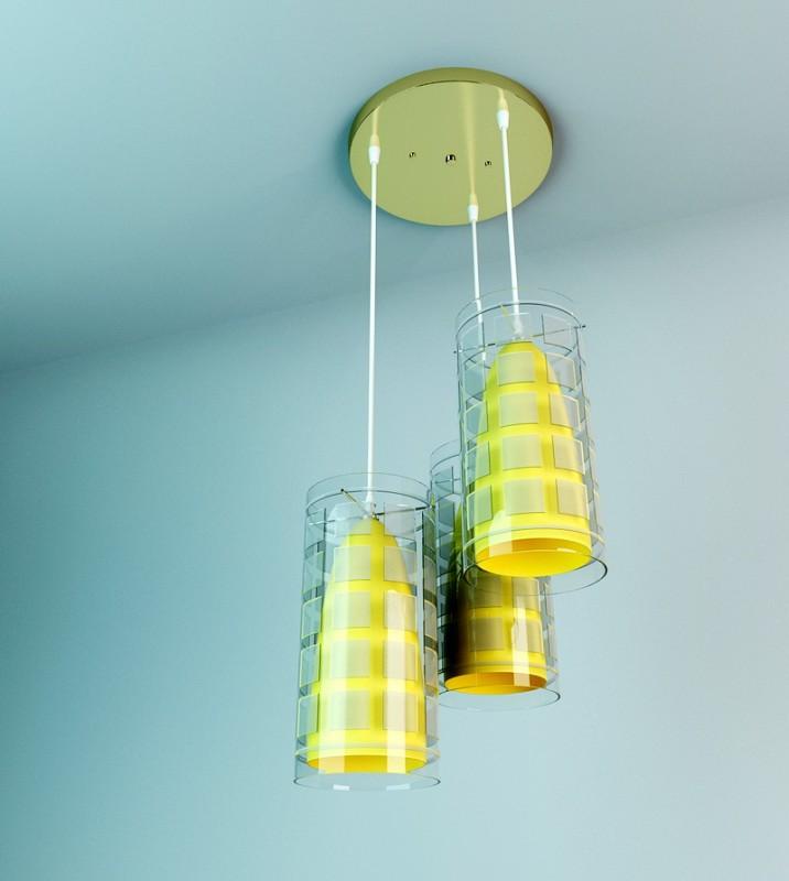 Yellow Kitchen Pendant Light 3d rendering