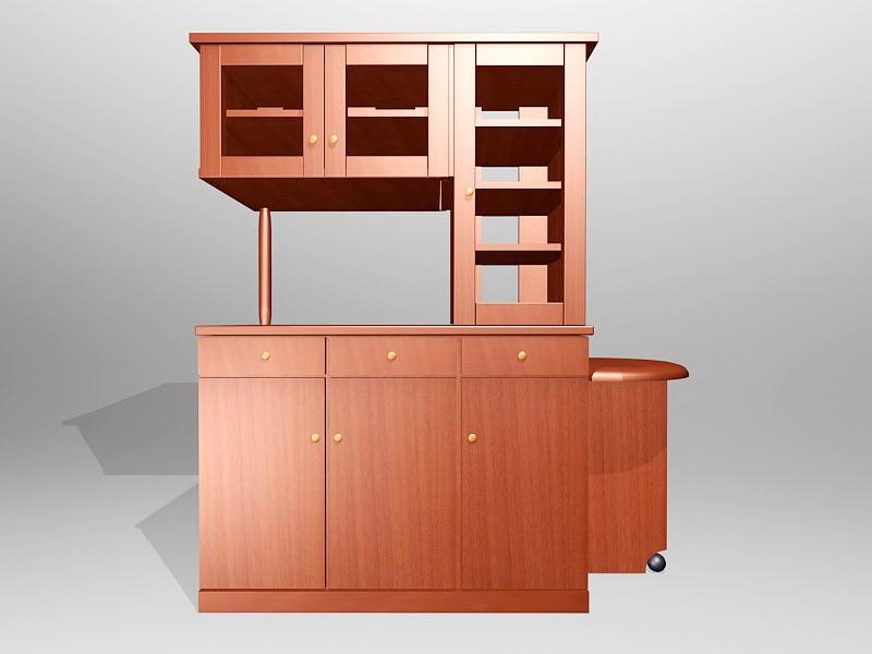 Tall Wood Kitchen Cupboard 3d rendering