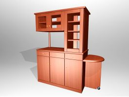 Tall Wood Kitchen Cupboard 3d preview