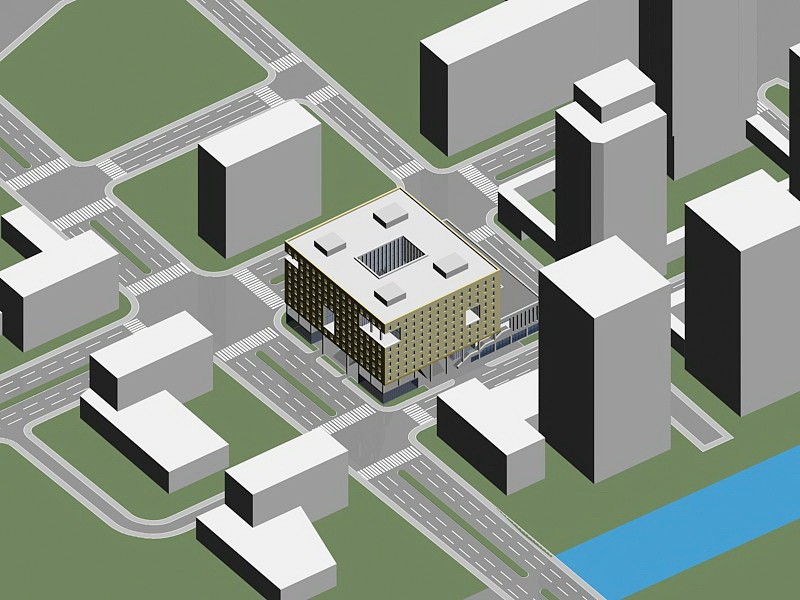 Urban Office Architecture 3d rendering
