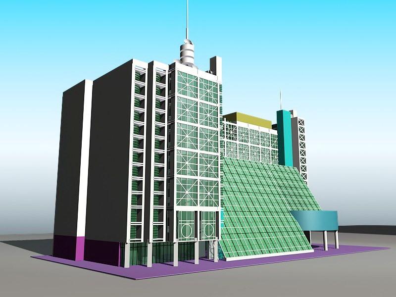 Modern Urban Hotel Architecture 3d rendering