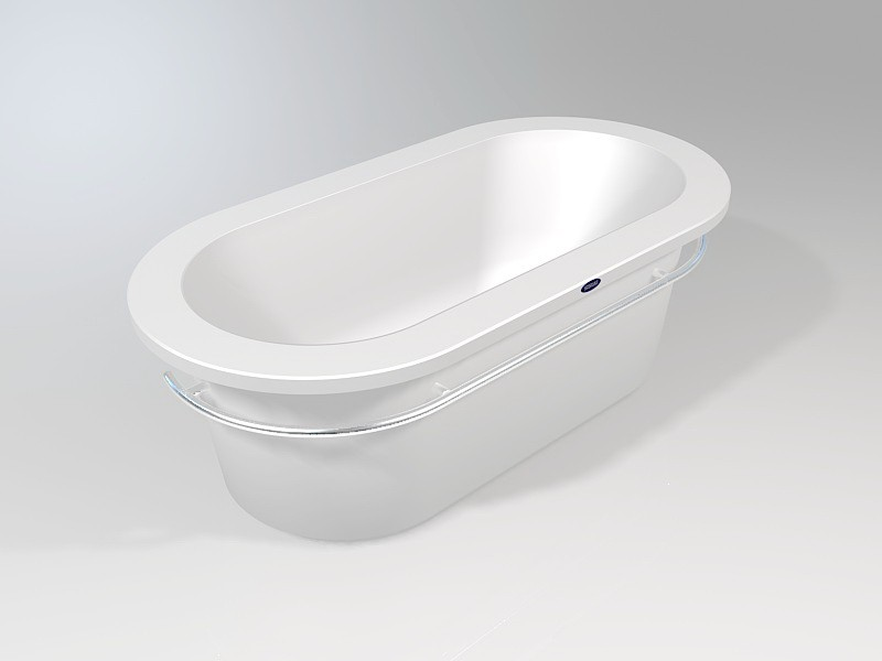 Freestand Oval Bathtub 3d rendering