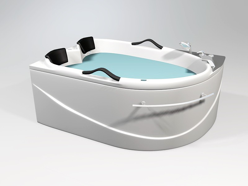 Double Person Corner Bathtub 3d rendering