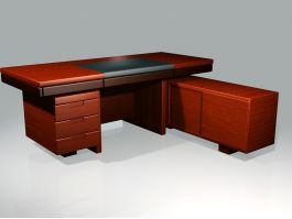 Wood Executive Desk with File Drawers 3d model preview
