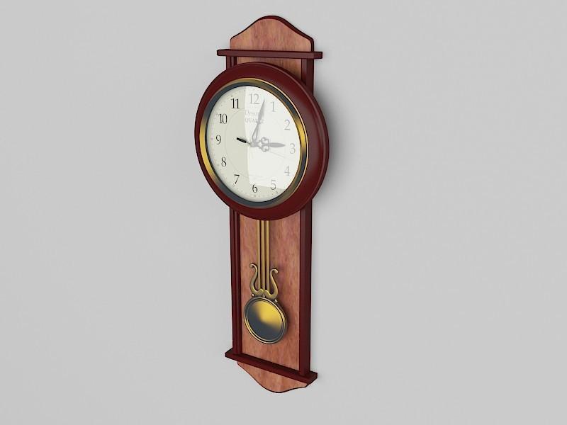 Vintage Wall Clock with Pendulum 3d rendering