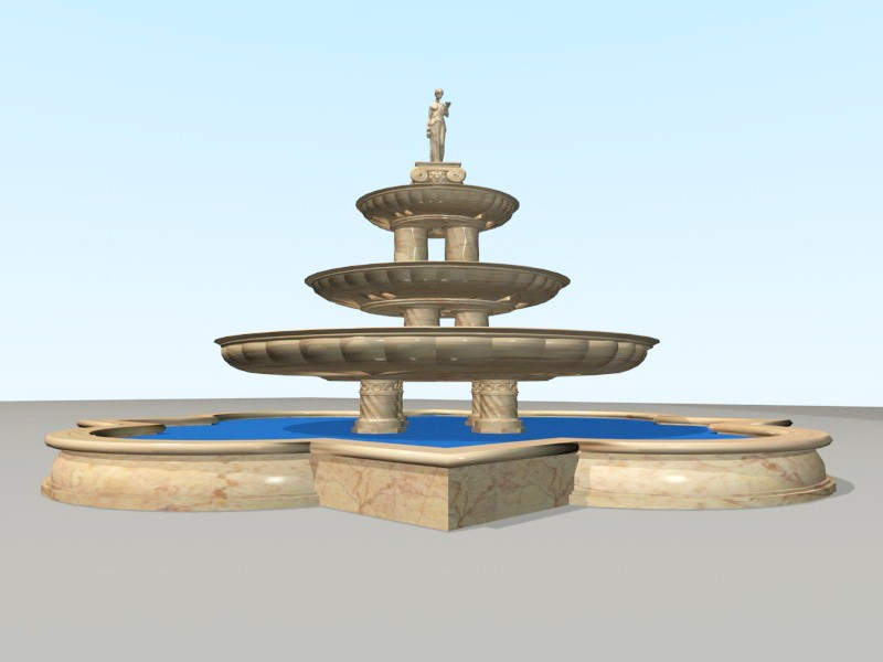 Large Yellow Marble Fountain 3d rendering