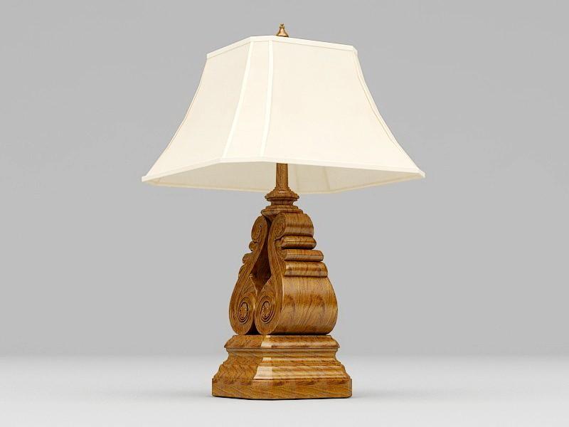 Vintage Wood Table Lamp 3d rendering