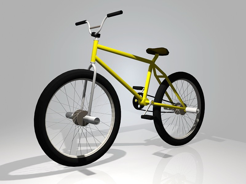 Yellow BMX Bike 3d rendering