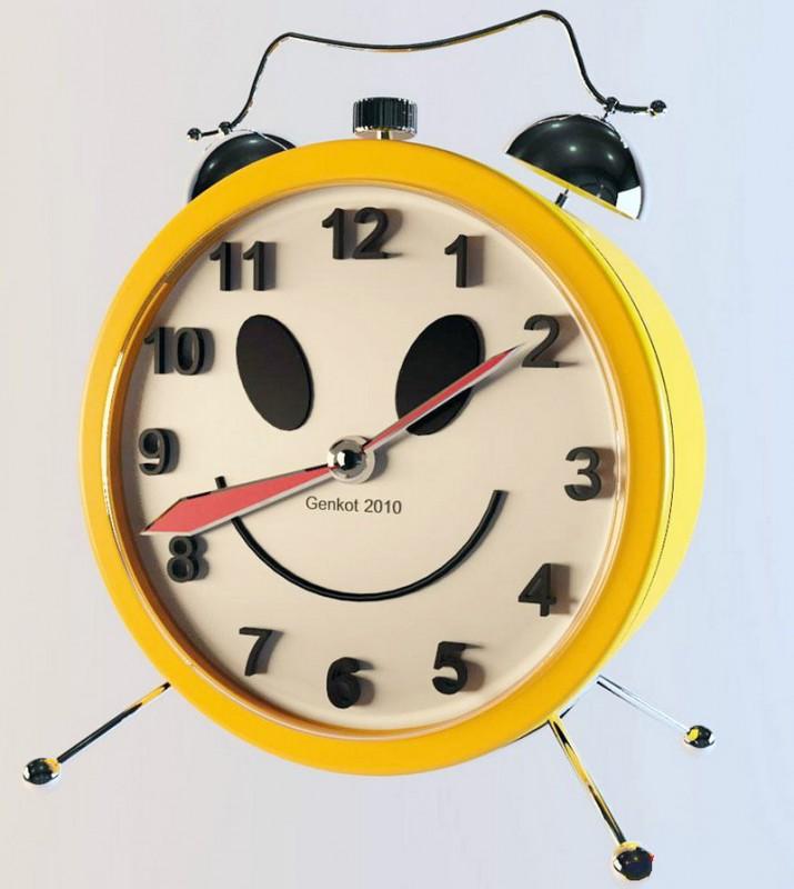 Yellow Alarm Clock 3d rendering