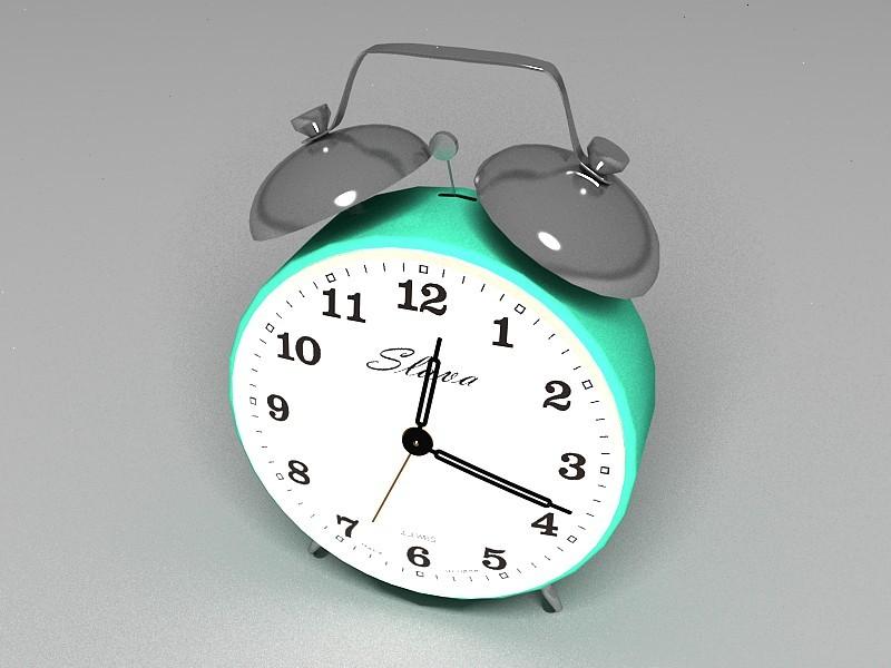 Green Alarm Clock 3d rendering