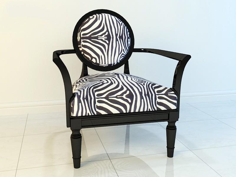 Zebra Accent Chair 3d rendering