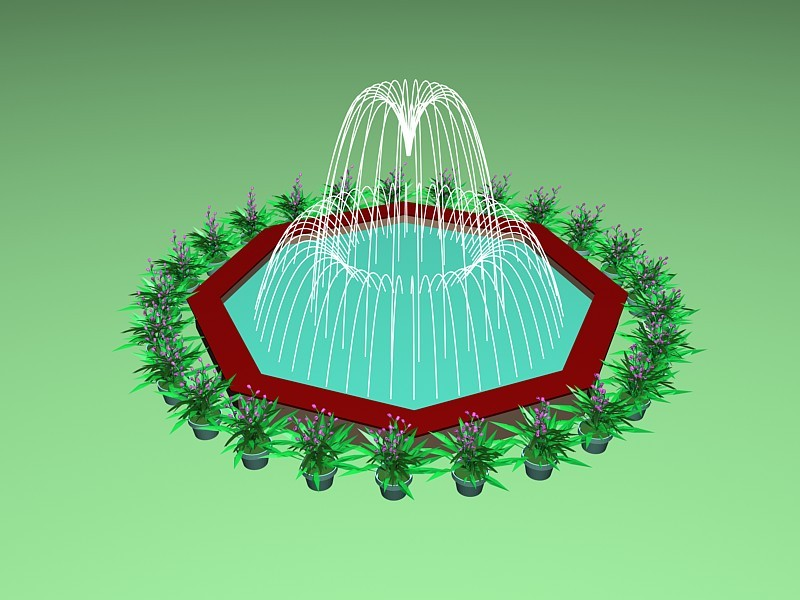 Patio Fountain with Potted Plant 3d rendering