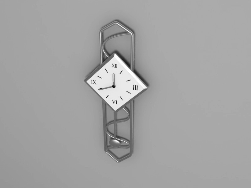Stainless Steel Wall Clock 3d rendering