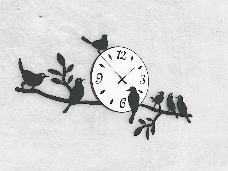 Retro Metal Tree Bird Wall Clock 3d rendering