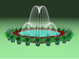 Patio Fountain with Potted Plant 3d preview