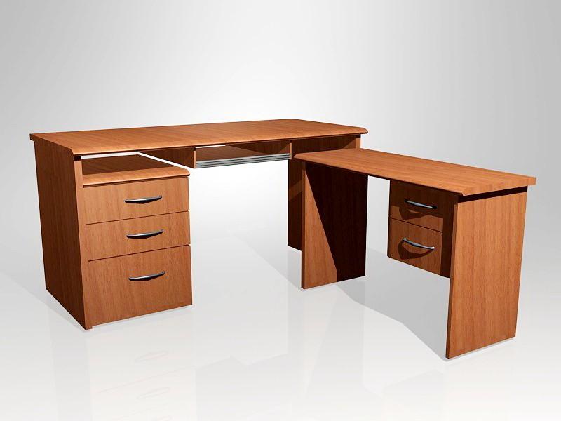 L shaped Computer Desk 3d rendering