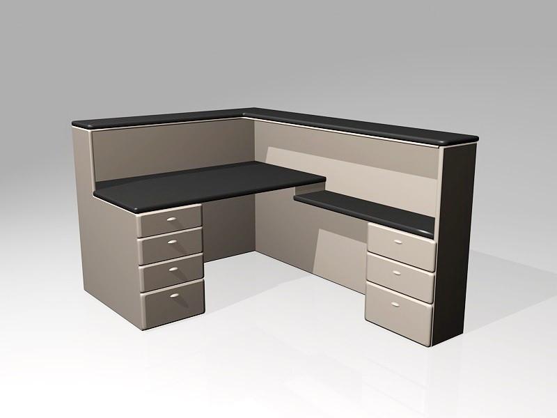 Office Furniture Reception Desk 3d rendering