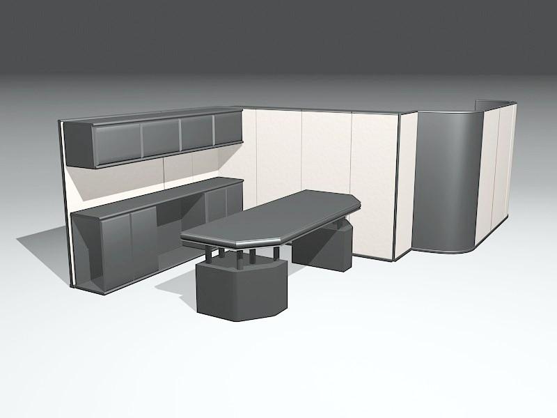 Open Office Space 3d rendering