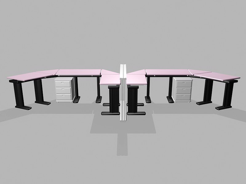 Office Workstation Table 3d rendering