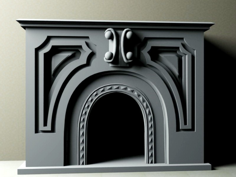 Traditional Fireplace 3d rendering