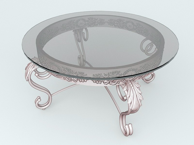 Antique Brass Coffee Table with Glass Top 3d rendering
