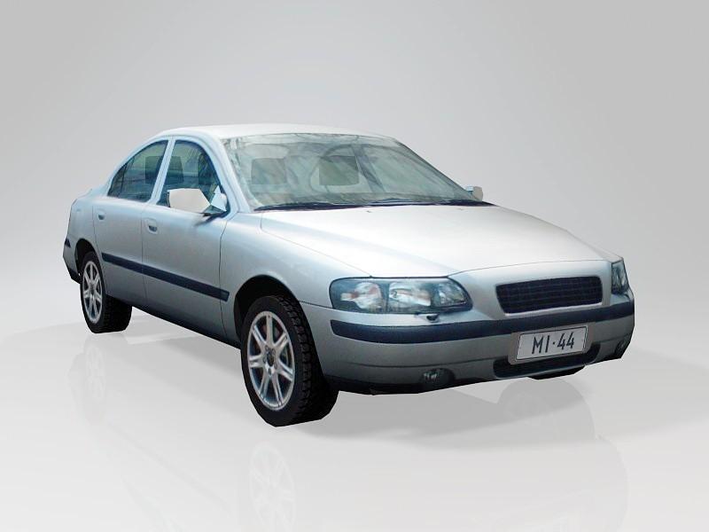 Low Poly Sedan Car 3d rendering