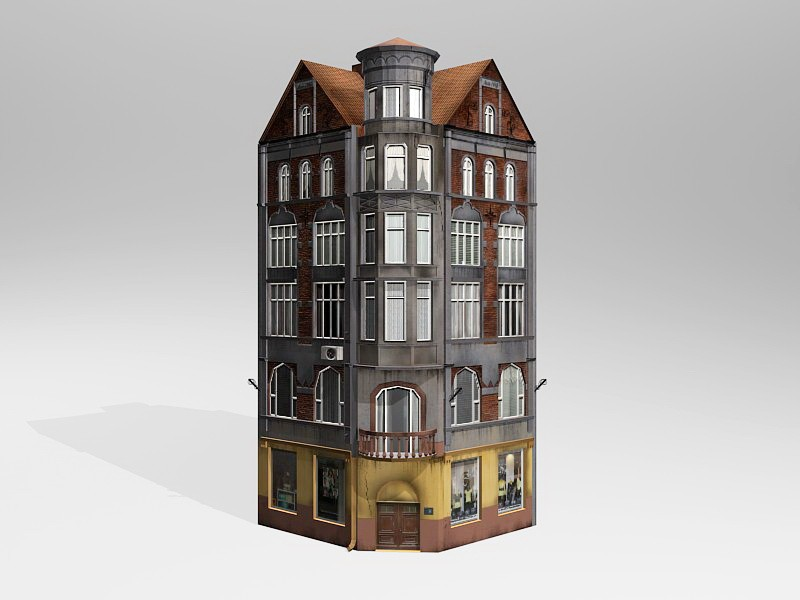 Low Poly 19th Century Commercial Building 3d rendering