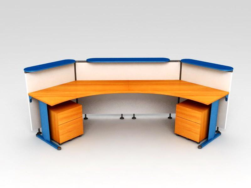 Curved Reception Desk Workstation 3d rendering