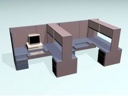 Workstation With Storage 3d model preview