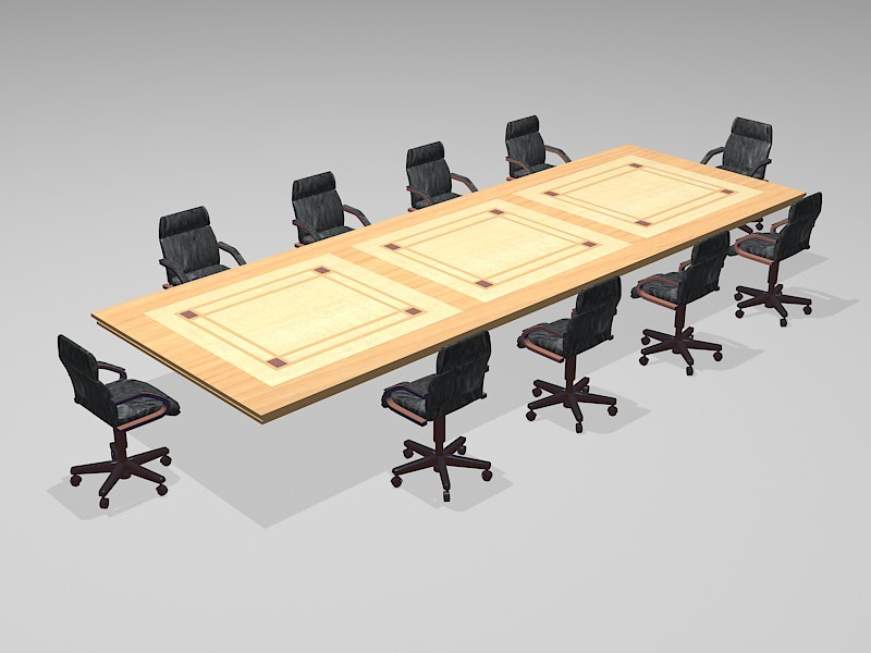 Conference Room Table & Chairs 3d rendering