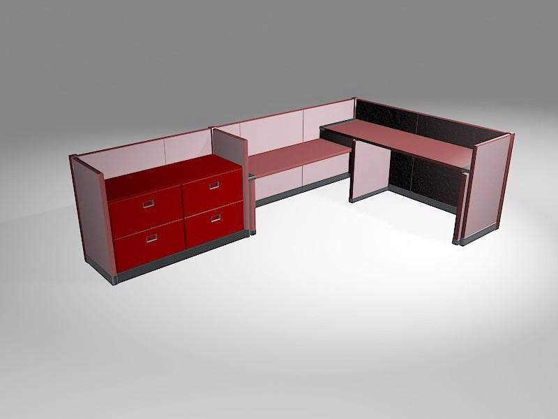Office Workstation Desks 3d rendering