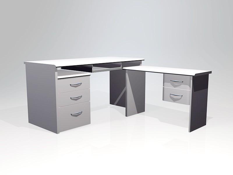 White Computer Desk 3d rendering