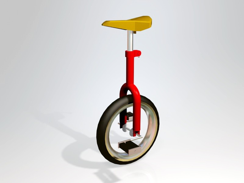 Red Unicycle 3d rendering