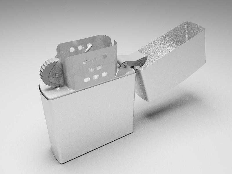Zippo Lighter 3d rendering