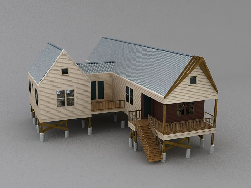 Low Poly Rural Country House 3d rendering