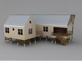 Low Poly Rural Country House 3d preview