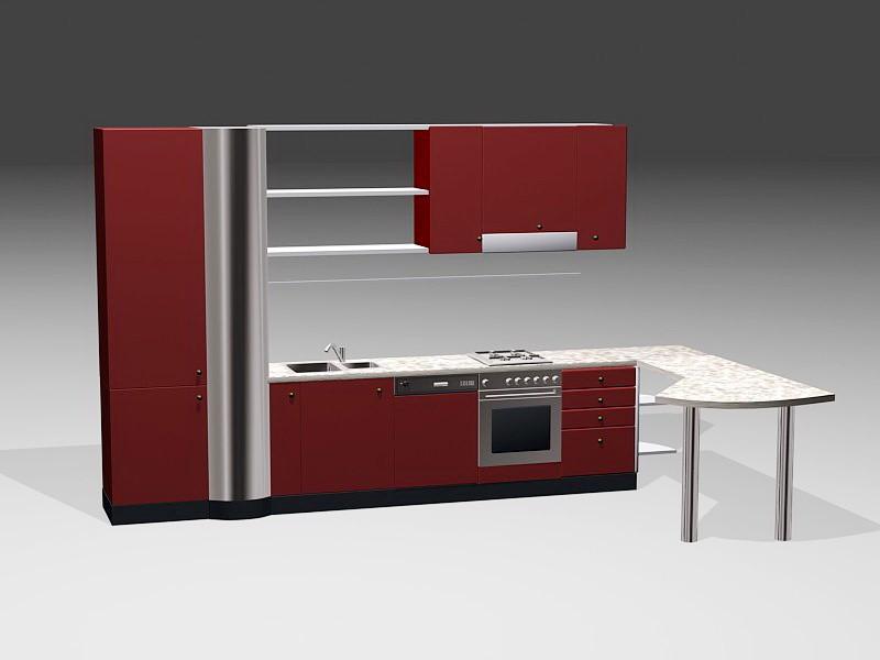 Modern Red Kitchen Design 3d rendering