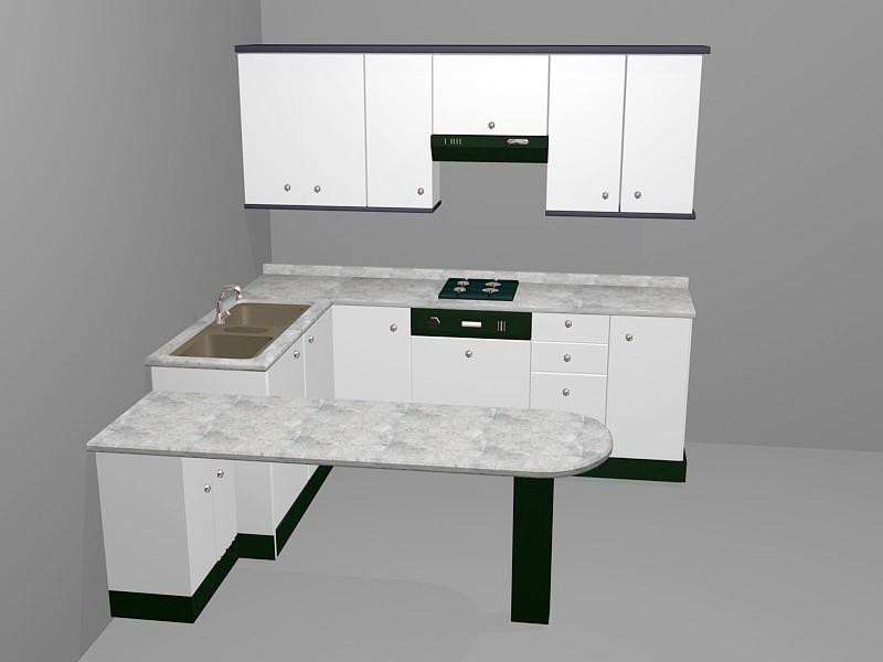 Small White Kitchen Design Ideas 3d rendering