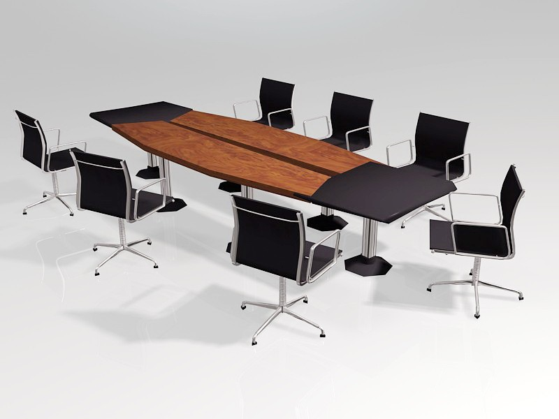 Conference Room Table and Chairs 3d rendering
