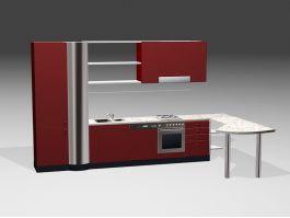 Modern Red Kitchen Design 3d preview