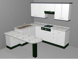 Small White Kitchen Design Ideas 3d model preview