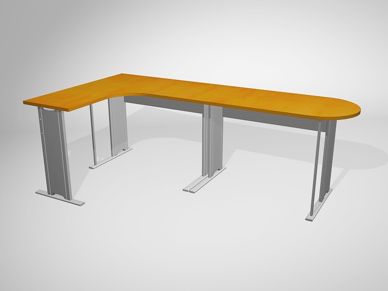 Metal L-shaped Desk 3d rendering