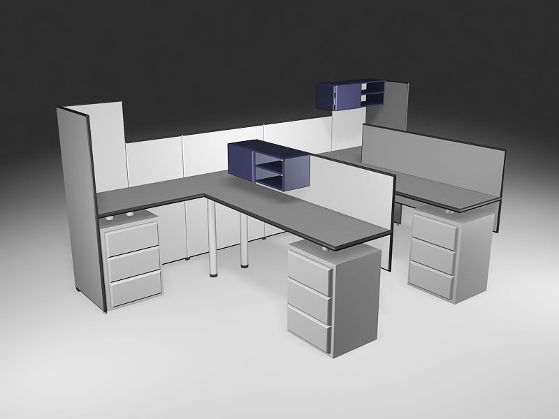 Office Workstations Cubicles 3d rendering