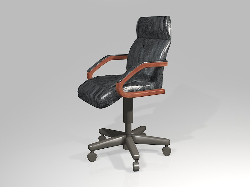 Black Leather Office Chair 3d rendering