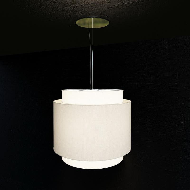 Drum Shaded Ceiling Lamp 3d rendering