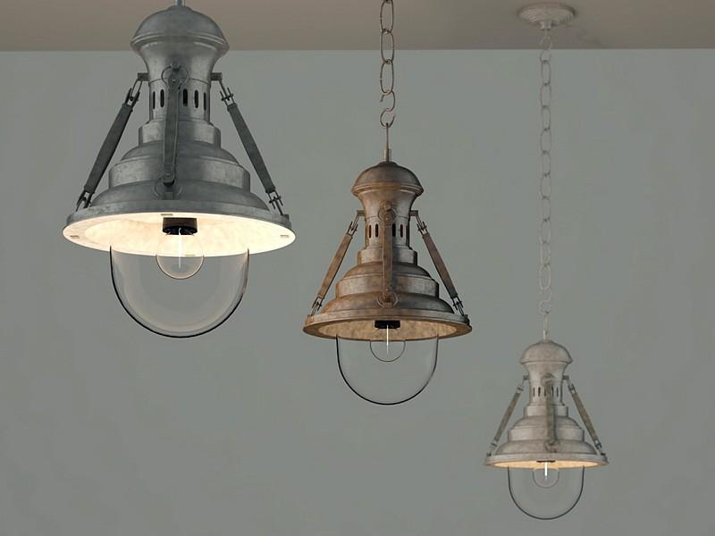 Antique Industrial Ceiling Lamp 3d rendering