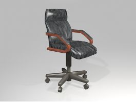 Black Leather Office Chair 3d preview