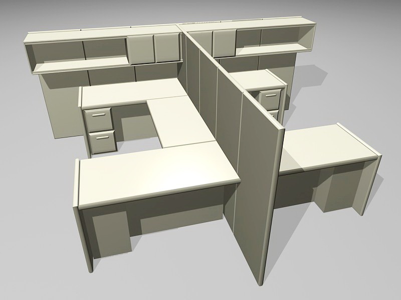 2 Person Cubicle Workstations 3d rendering