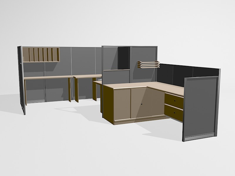 Office Furniture Cubicle Workstations 3d rendering